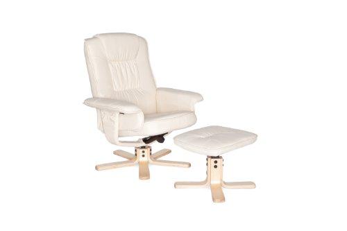 Amstyle Comfort TV Fernsehsessel Relaxsessel drehbar mit Hocker, beige / creme