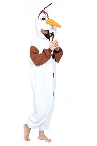 Unisex Olaf Kigurumi Anime Pajamas Costume Adult Cosplay Onesie Dress (M, Olaf)