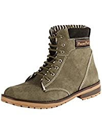 BACCA BUCCI MEN OLIVE SUEDE LEATHER BOOTS
