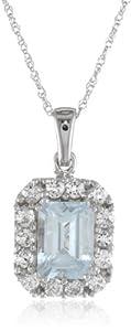 10k White Gold Octagon Aquamarine with Round Created White Sapphire Pendant Necklace, 18