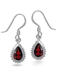 P D Diamonds Red Color Garnet Pear Shape Dangling Earring Womens In Silver 925