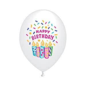"11"" Happy Birthday Confetti & Candles (12) Latex Balloons"