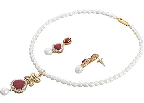Krishna Pearls & Jewellers White Alloy Pearl Jewellery Sets For Women - B00OXOQ9MC