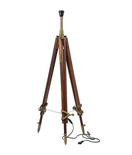 Home Decorative Big Floor Lamp Stand Retro Antique Style Tripod Lamp Stand Decor (Brown)