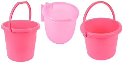 Samruddhi Eco Fresh Plastic Bucket, Pink, Pack Of 3