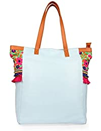 Desi Drama Queen Faux Leather Handloom Fabric With Hand Embroidery Gypsy Coin Tote Sky