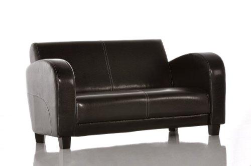 Sofa Vernice 150x85 cm Antik-Braun Nähte Beige 2-Sitzer