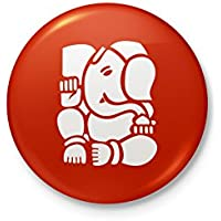 Lord Ganesh - Badge - 58mm Diameter - With Safety Pin Back