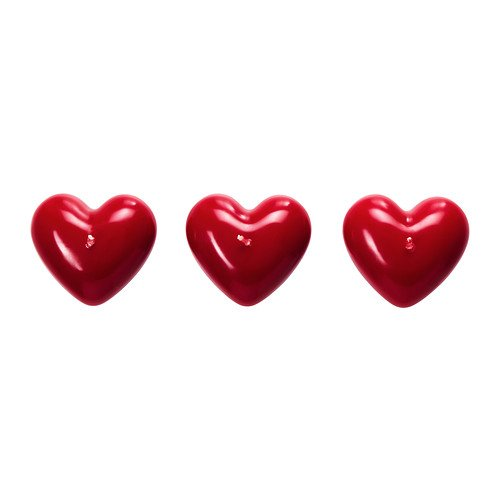 Unscented Red Heart Shaped Valentine Block Candles 3 Pack