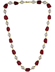 Hash Style Authentic White Pearl And Red Coral Stone Necklace For Women And Girls