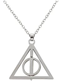 Harry Potter Deathly Hallows Antique Triangle Pendant Long Chain Necklace Gift For Men And WomenSLALPE0267SL