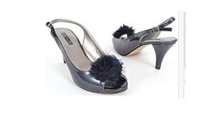 Bandolino Shoes Pliskin Navy Blue Open Toe Slingback Pumps Womens Size 9.5