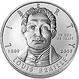 Louis Braille Bicentennial Uncirculated Commemorative Silver Dollar (BR2) 2009 Philadelphia