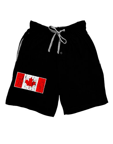 Trump and Clinton Halloween Costumes - Choose Edgy or Funny - TooLoud Distressed Canadian Flag Maple Leaf Adult Lounge Shorts - Black-
