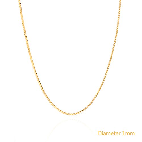 Gold Chain Necklace 1mm Thin Box, 24K Gold Plated USA Made LIFETIME WARRANTY, 30x Thicker than Any Overlay, Tarnish Resistant Men & Women Fashion Jewelry for Pedants or wearing alone, Lobster Clasp, Buy Once - Keep For Life! (24 Inches)
