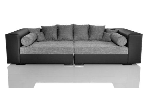 Big Sofa Stella 300x140 cm Schwarz Grau Wohnlandschaft