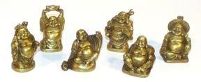 Paradise Buddha Figurines, 2-Inches, Set of 6, Bronze