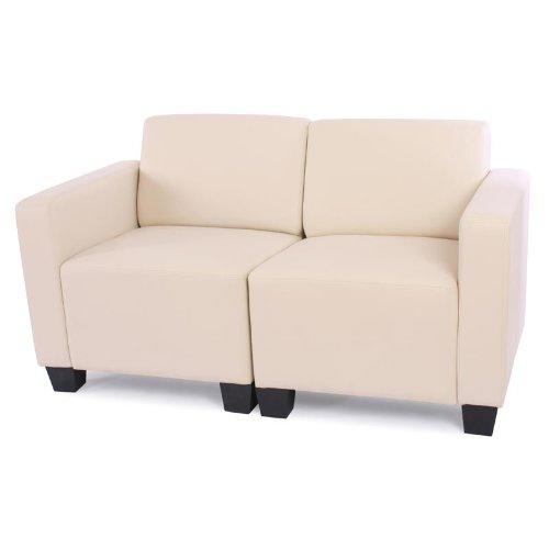 Modular 2-Sitzer Sofa Couch Lyon, Kunstleder ~ creme
