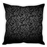 StyBuzz Cushion Cover - Baroque Lace Print Black & Grey
