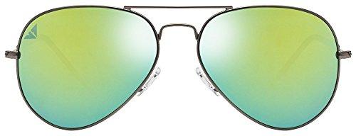 Vincent Chase VC 6960 Gunmetal Black Green Yellow Mirror C17 Aviator Sunglasses (103660)