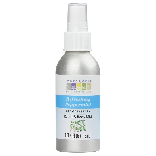 Aura Cacia 100% Pure Essential Oils, Refreshing Peppermint Aromatherapy Room & Body Mist 4 fl oz- Pack 4