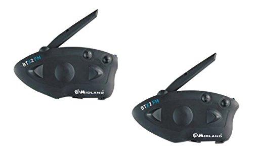 Midland BTX2 FM - Auriculares (Bluetooth, control remoto integrado), negro