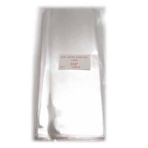 100x Clear Flat Cellophane Treat Bag 3x8 inch