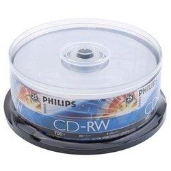 25 Philips CD-RW 4X-12X 80Min 700MB Philips Logo On Top