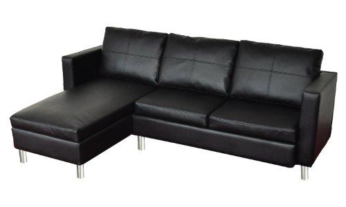 Wohndesign Ecksofa Lounge Sofa Ledersofa Relax Liege Wohnlandschaft schwarz