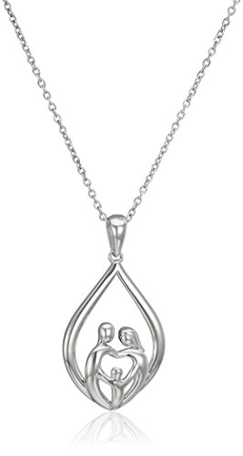 Sterling Silver Family Parents and Child Drop Pendant Necklace, 18