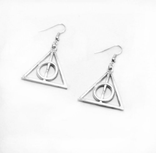 Harry Potter Silver Deathly Hallows Charm Earrings with Gift Box
