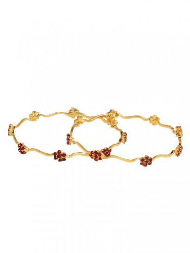 KARIGARI FASHION JEWELS GOLD TONED BANGLES WITH RED STONES