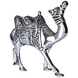 HD Techno Crafts Indian Rajasthani Handicraft White Metal Kathi Camel -8 Inch