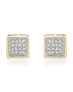 Genuine Morne Rouge (TM) Earrings. I2 Color G-H Diamonds Gold Plated Silver Earrings. 0.9 Grams in Weight and 6 mm in Length. 100% Satisfaction Guaranteed.