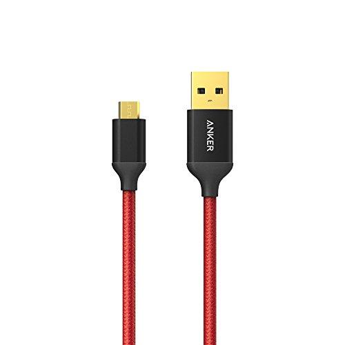 Anker 高耐久ナイロン Micro USB ケーブル 3m 金メッキコネクタ Android, Samsung, HTC, Nokia, Sony, その他のスマートフォン用 レッド (3m)