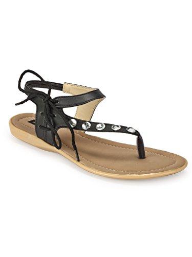 Faux Leather/ Synthetic Black Sandal Flat - B01GTWZFLQ