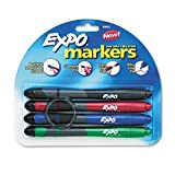 Expo Dry Erase Marker with Grip and Eraser, Ultra Fine Tip, 4 Asst Colors/Set SAN80892