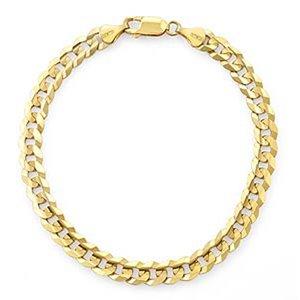 Yellow Gold Curb Men's Bracelet