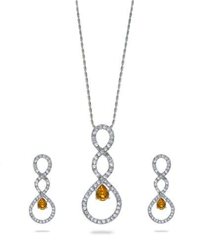 Eclat Rhodium Brass Alloy Pendant Set For Women(412255RSU)
