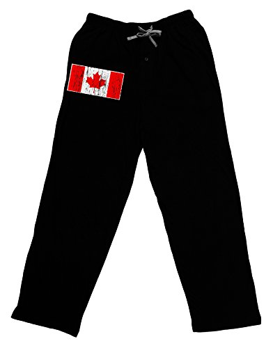 Trump and Clinton Halloween Costumes - Choose Edgy or Funny - TooLoud Distressed Canadian Flag Maple Leaf Adult Lounge Pants - Black-