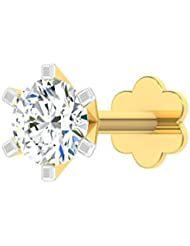 TBZ - The Original 18k (750) Yellow Gold And Diamond Solitaire Screw Nosepin - B01H02NKTI