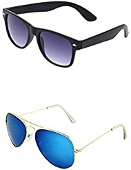 YOUNKY COMBO OF BLACK WAYFARER SUNGLASSES AND YOUNKY BLUE AVIATOR SUNGLASSES PAIR - WITH 2 BOXES