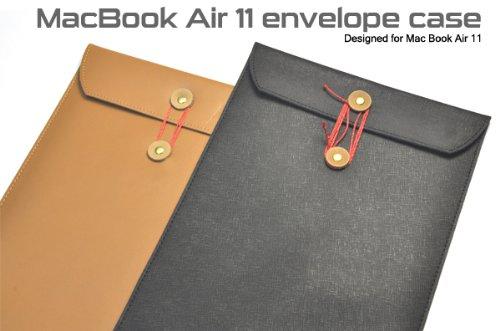 ブラック【MacBook Air 11インチ対応】レザー調封筒デザインケース