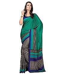 Desi Look Women's Bhagalpuri Green Saree With Unstitched Blouse