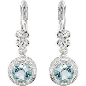 IceCarats Designer Jewelry 14K White Gold Genuine Aquamarine And Diamond Earrings. Pair