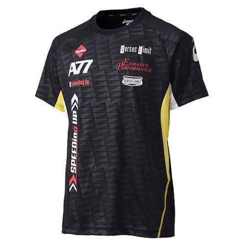 (アシックス)asics A77 Tシャツ XA6154 9005 ブラックxビブラントイエロー M