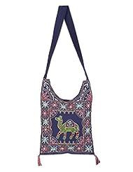 Rajrang High Quality Cotton Embroidered Camel Blue Sling Bag