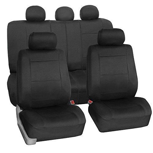 FH-FB083115 Neoprene Waterproof Car Seat Covers Airbag Ready & Rear Split Black- Fit Most Car, Truck, Suv, or Van