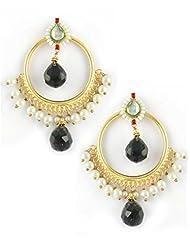 The Art Jewellery Black Drop Round Shaped Kundan Dangle&Drop Earrings For Women