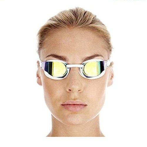 Speedo Elite Goggle Mirror - Gafas de natación unisex, color blanco / dorado, talla única